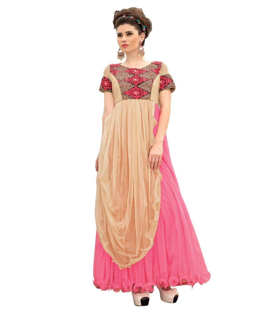 Apple Creationn Pink Net Anarkali Gown Semi Stitched Dress Material