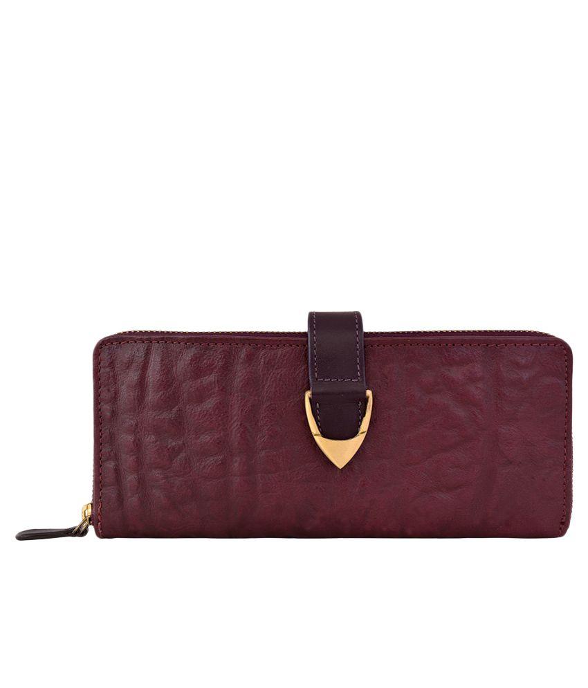 Hidesign Yangtze W2 Aubergine Leather Ladies Zip Around Wallet