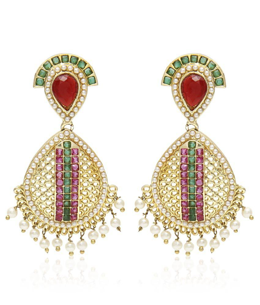 Jewels Galaxy Luxuria Collection Pearls Dangle Earrings