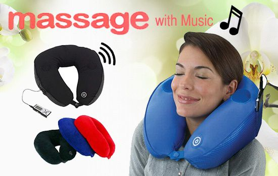 ... PRC Blue Neck Pillow Massaging Microbead Vibrating Massage Travel Pillow  With Speaker ...
