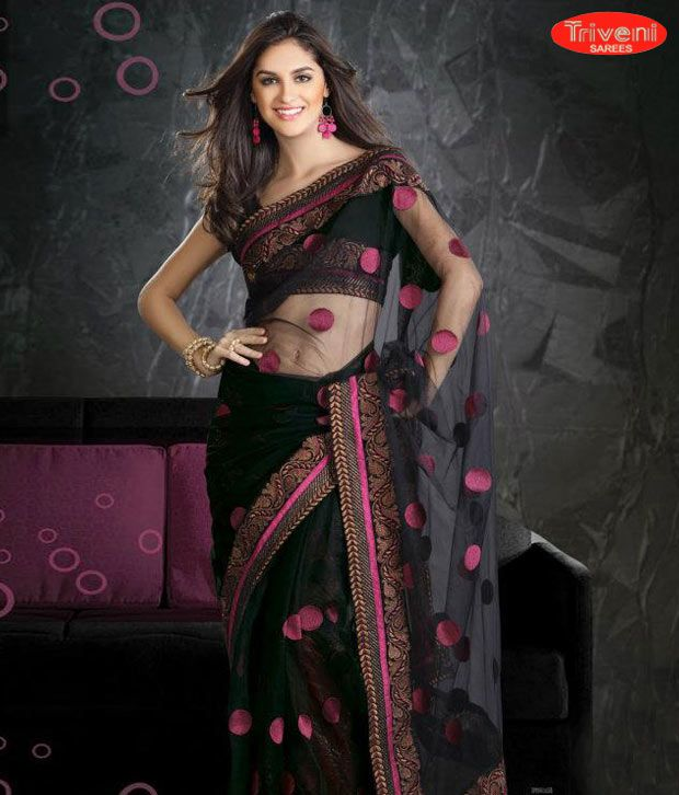 Triveni Sarees Black Net Saree