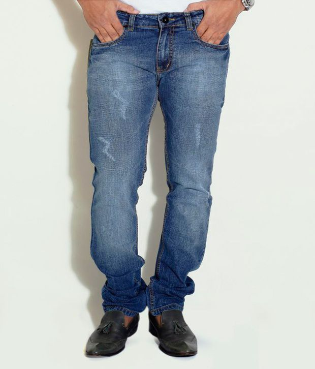 Globus Blue Frayed Look Slim Jeans