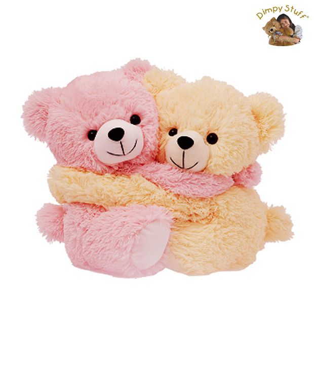 Dimpy Stuff Light Pink & Cream Bear Couple Soft Toy- 20 cm