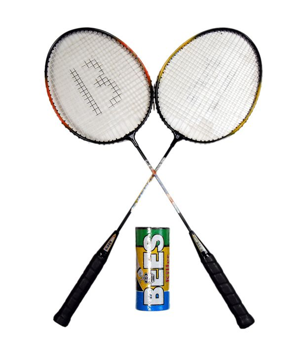 Bees 2 Economy Badminton Racket With 3 Feather Shuttle ...