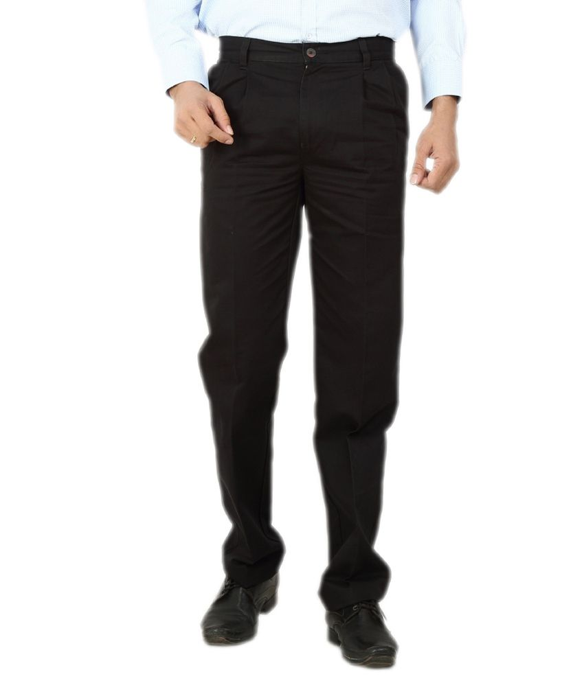 Dad Black Regular Fit Formal Pleated Trousers