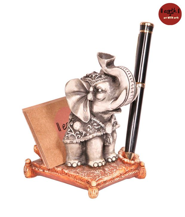 Earth Elephant Card Holder With Pen Stand