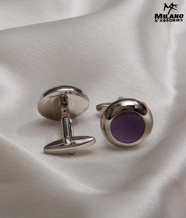 Milano X'xssories Chrome With Purple Stone Cufflinks