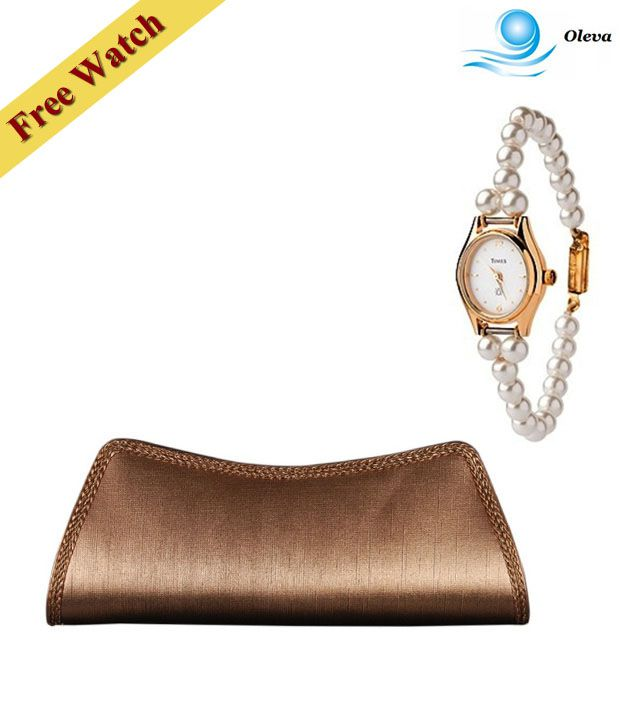 Oleva Copper Woven Edged Clutch With Free Women's Watch