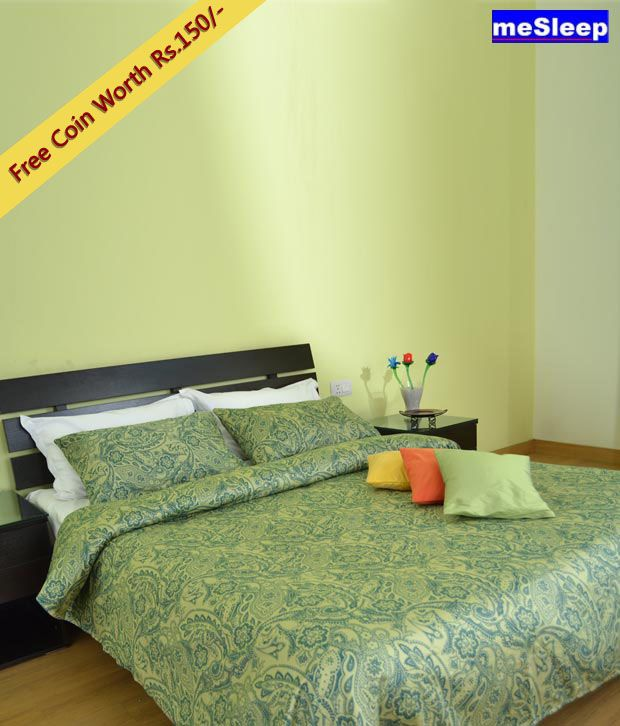 meSleep Green Printed Bed Sheet Set with Free Coin