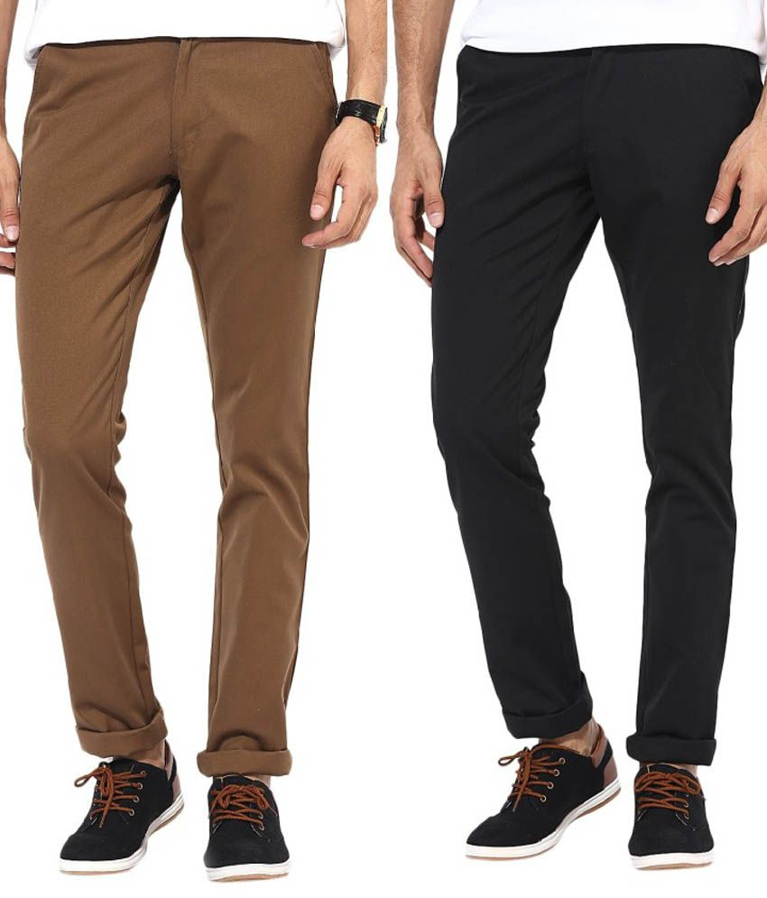 Bukkl Combo Of Black And Dark Brown Slim Fit Casual Chinos