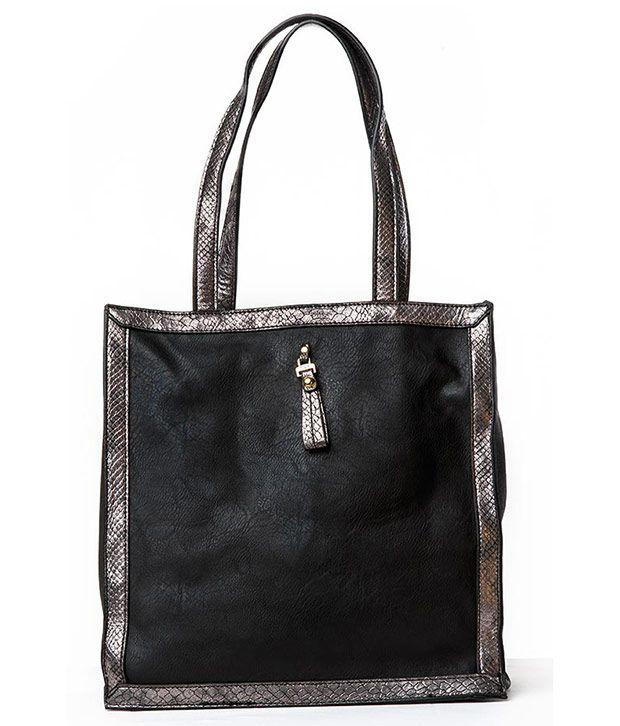 DMR Black Leather Shoulder Bag