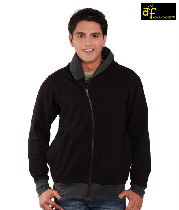A for F Stylish Black & Grey Men's Jacket