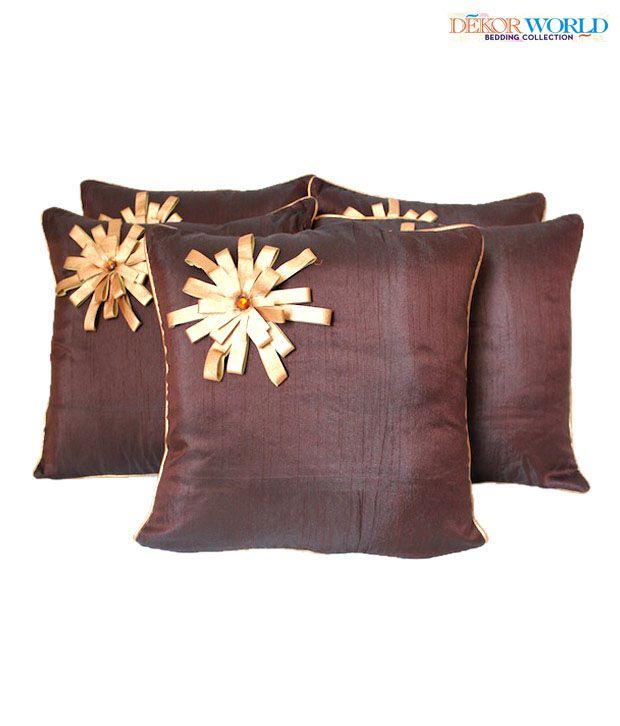 Dekor World Rexine Flower Embellished Dark Brown Cushion Covers