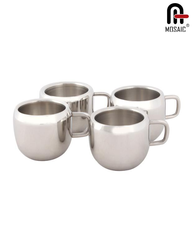 Mosaic Stylish Stainless Steel Tea Cup Set