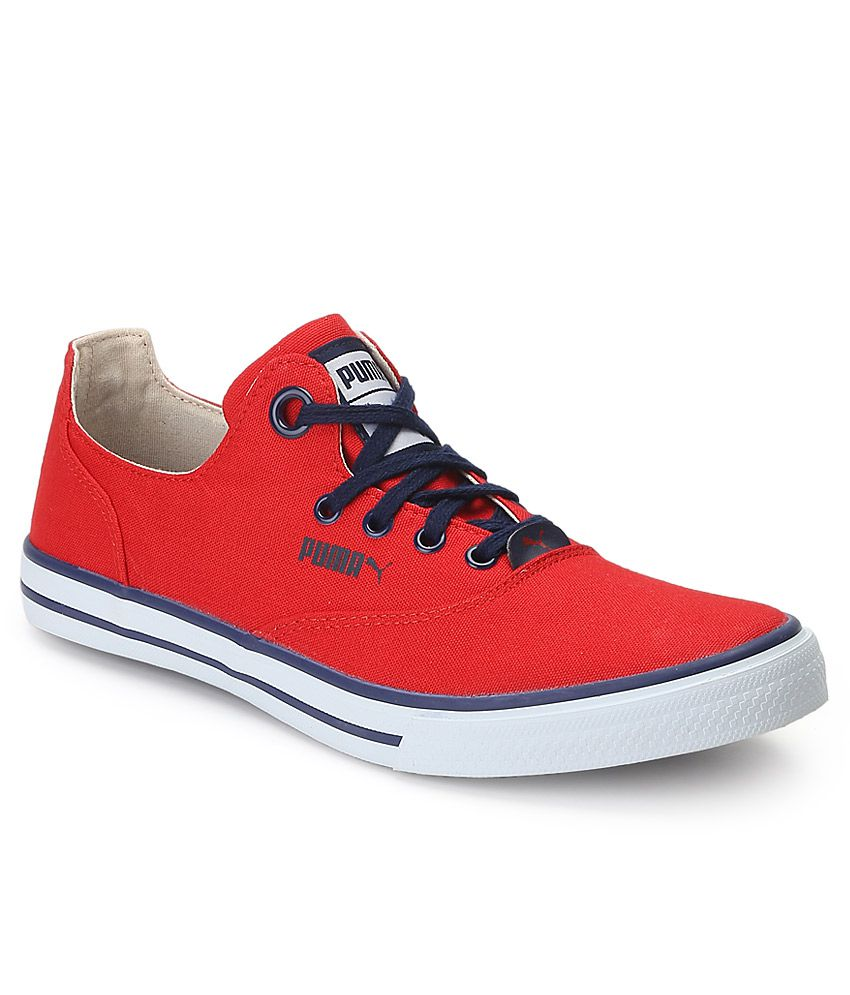 Puma Red Canvas Shoes - Buy Puma Red Canvas Shoes Online ...