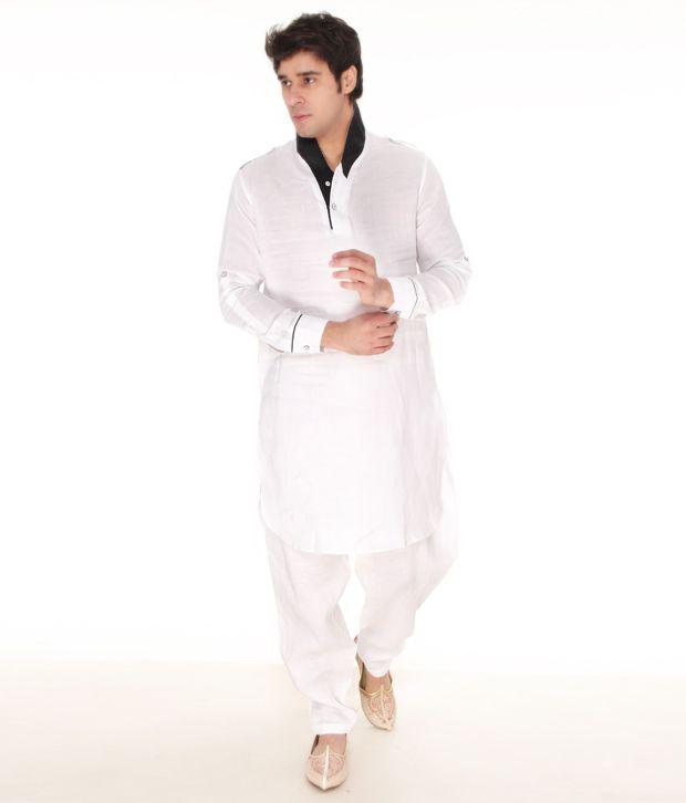Varah White Linen Pathani