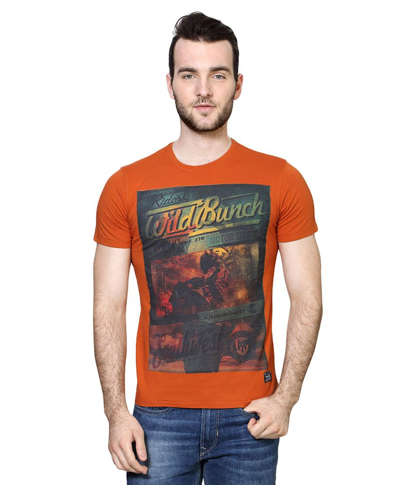 Van Heusen Orange Round Neck T Shirt