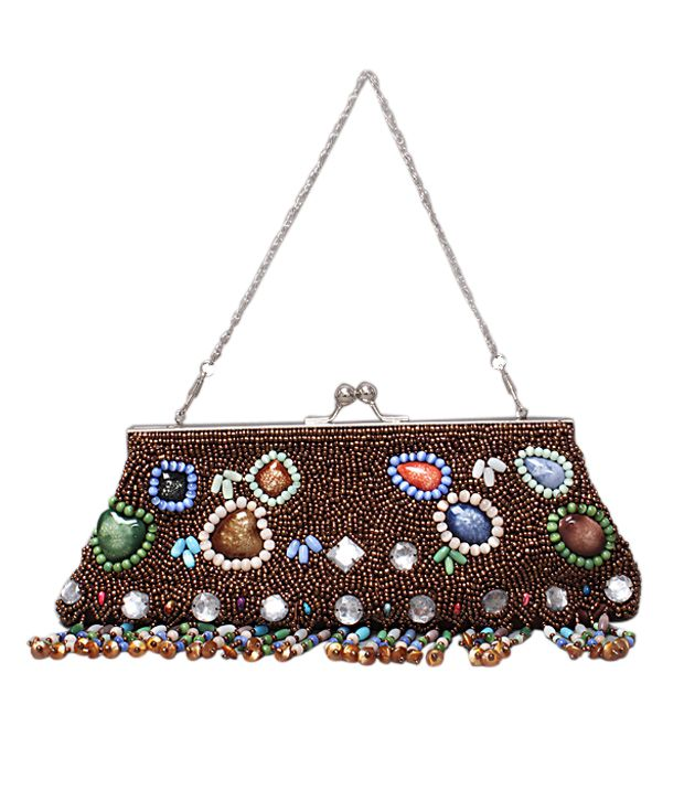 Bolso Brown & Multi Beads Dangling Clutch
