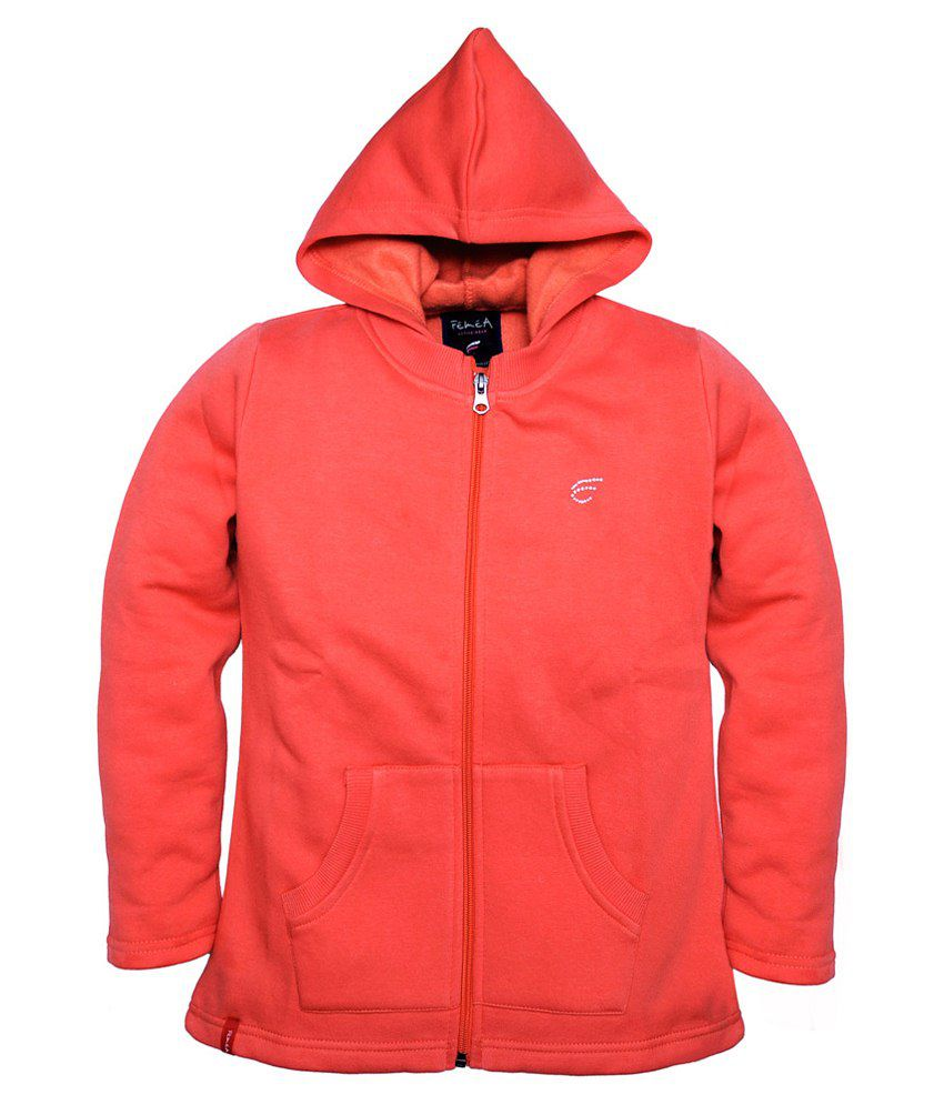 Femea Peach Hooded Sweatshirt For Girls
