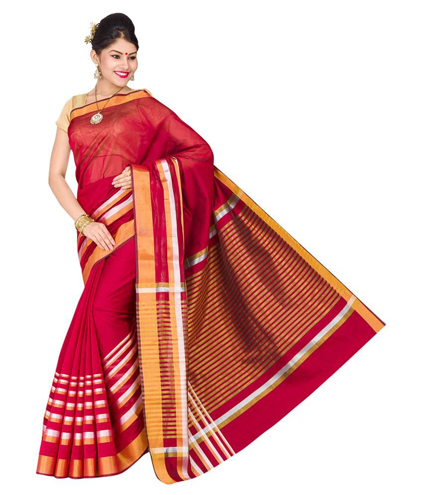 Pavecha's Red Cotton Silk Saree