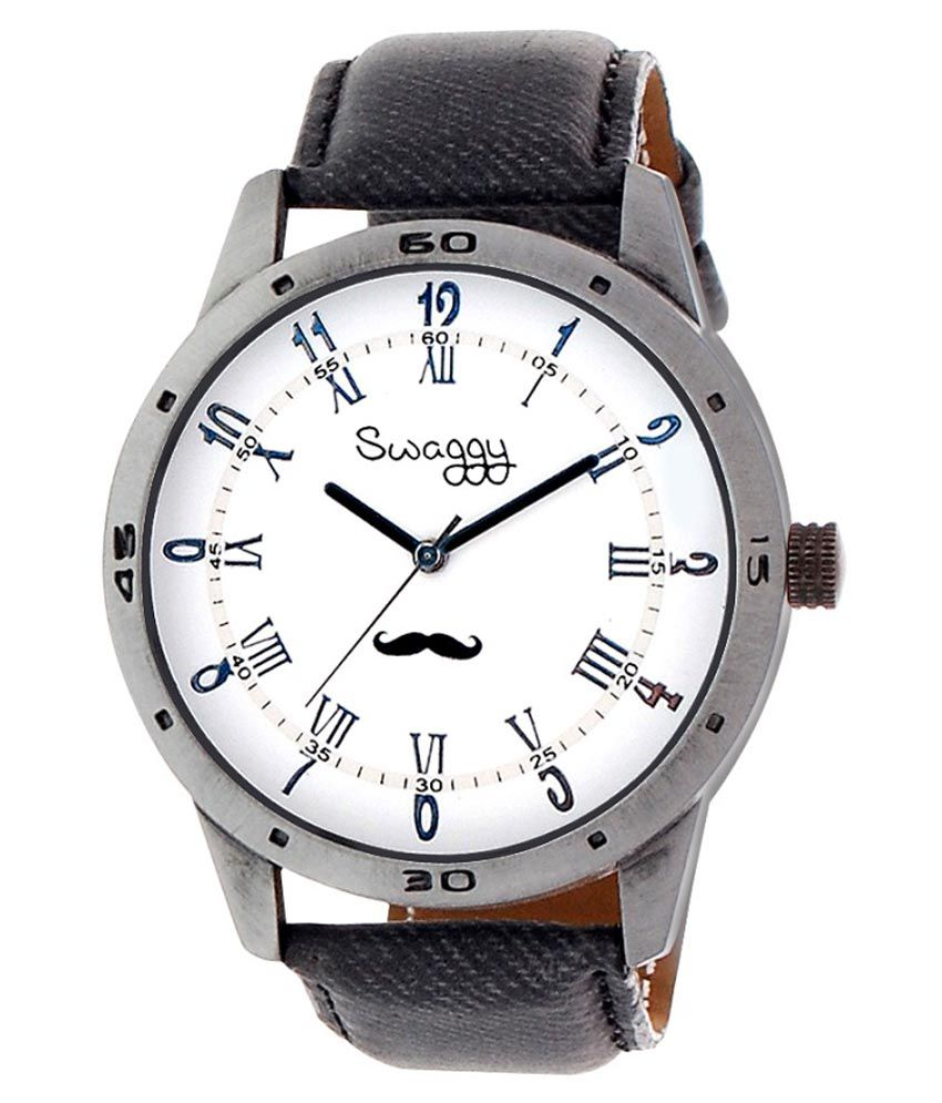 Swaggy Gray Leather Analog Watch