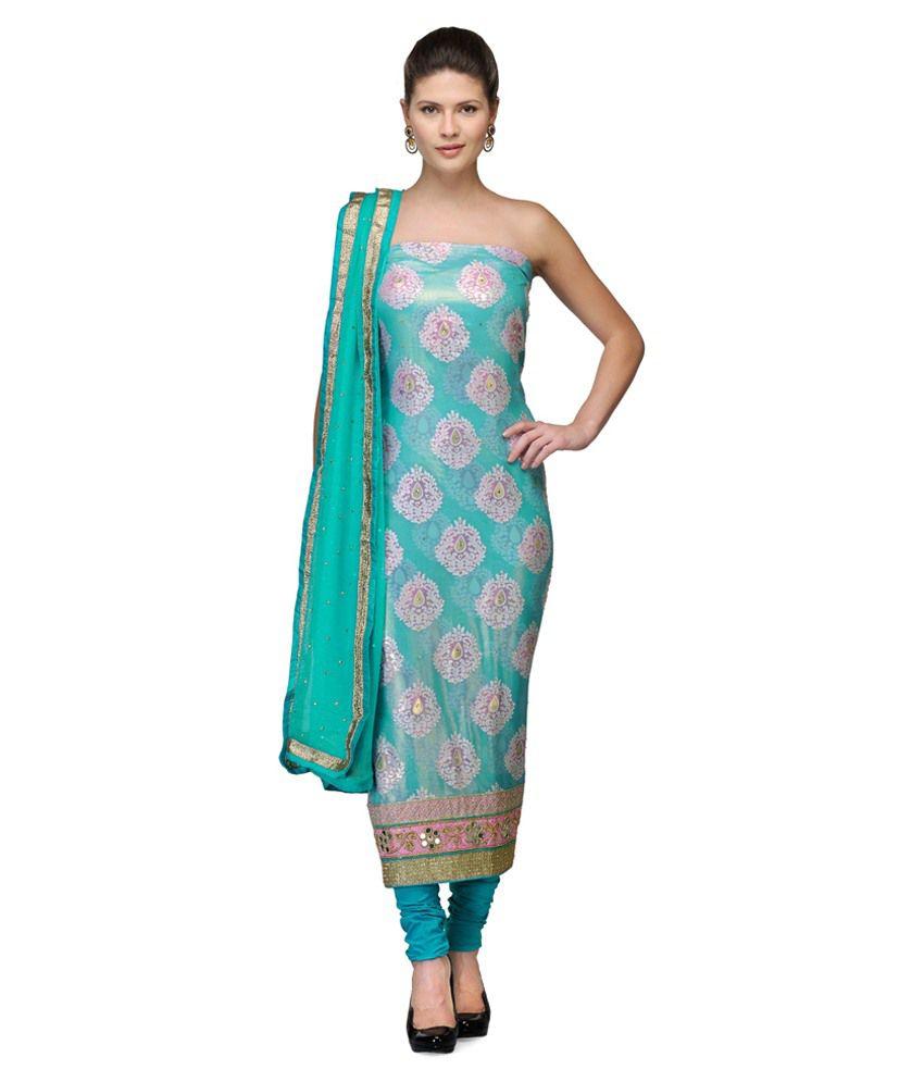 Vinbi Blue Chanderi Unstitched Dress Material
