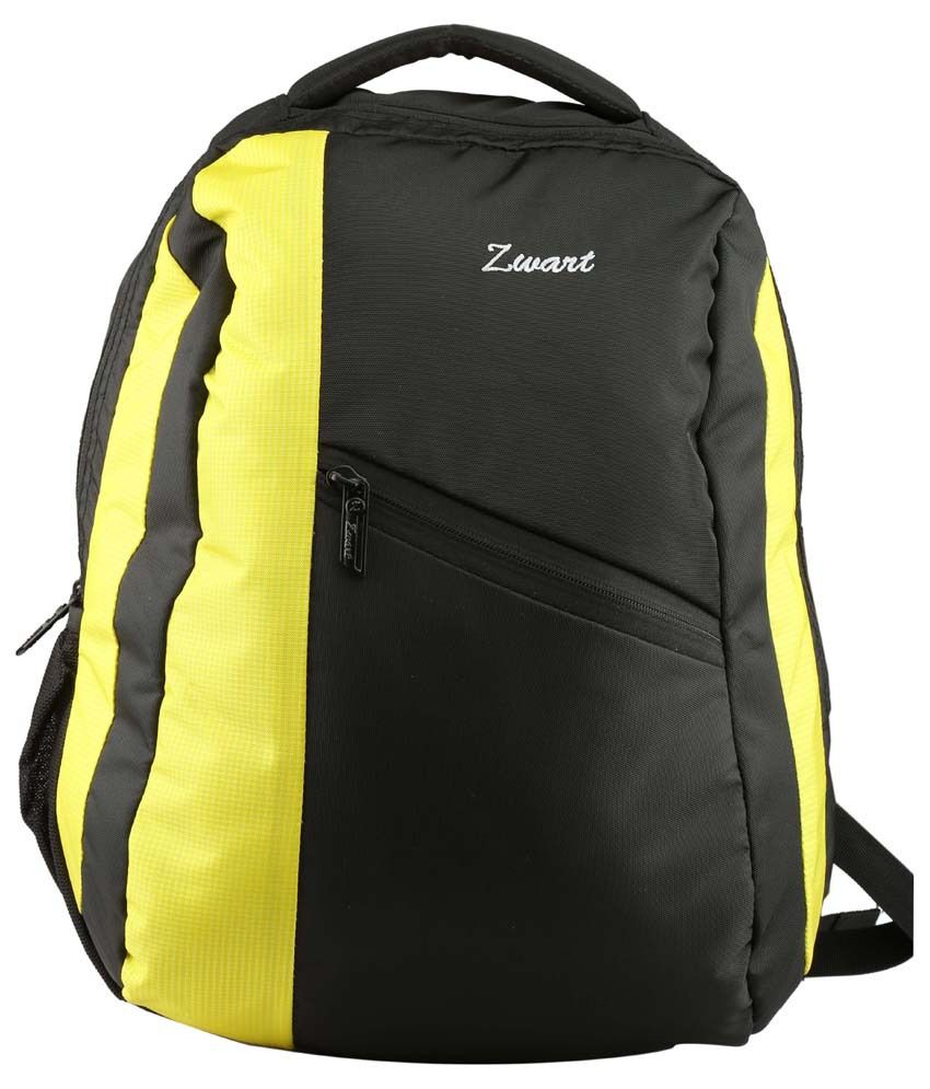 Zwart Polyester Laptop Backpack-yellow