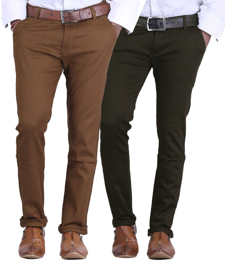 Ave Dark Brown & Chocolate Brown Slim Fit Formal Chinos Trousers - Pack Of 2
