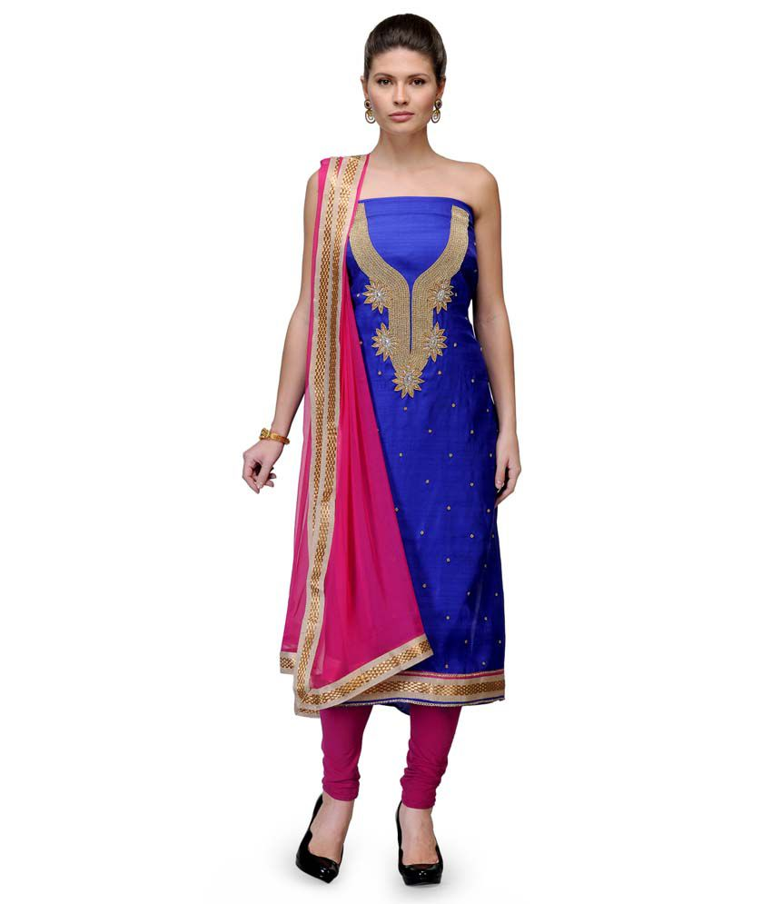 Glozzon Blue Chanderi Unstitched Dress Material