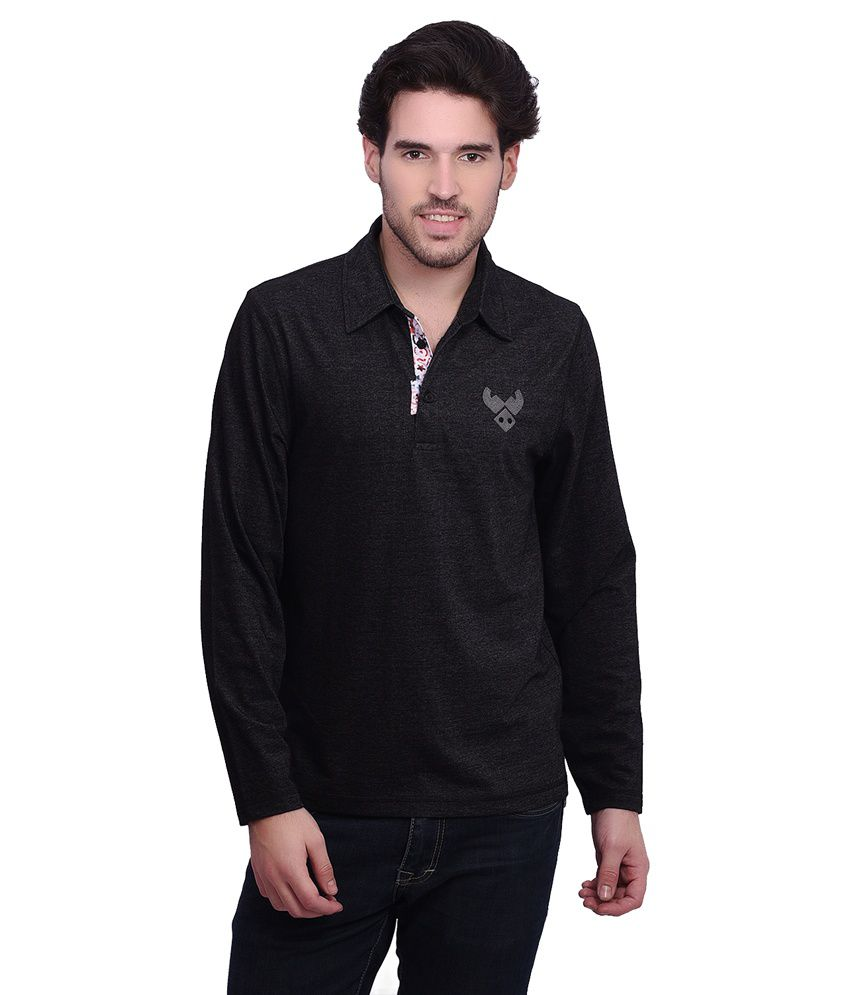 Punctuate Black Cotton Blend Full Sleeve Polo T-shirt