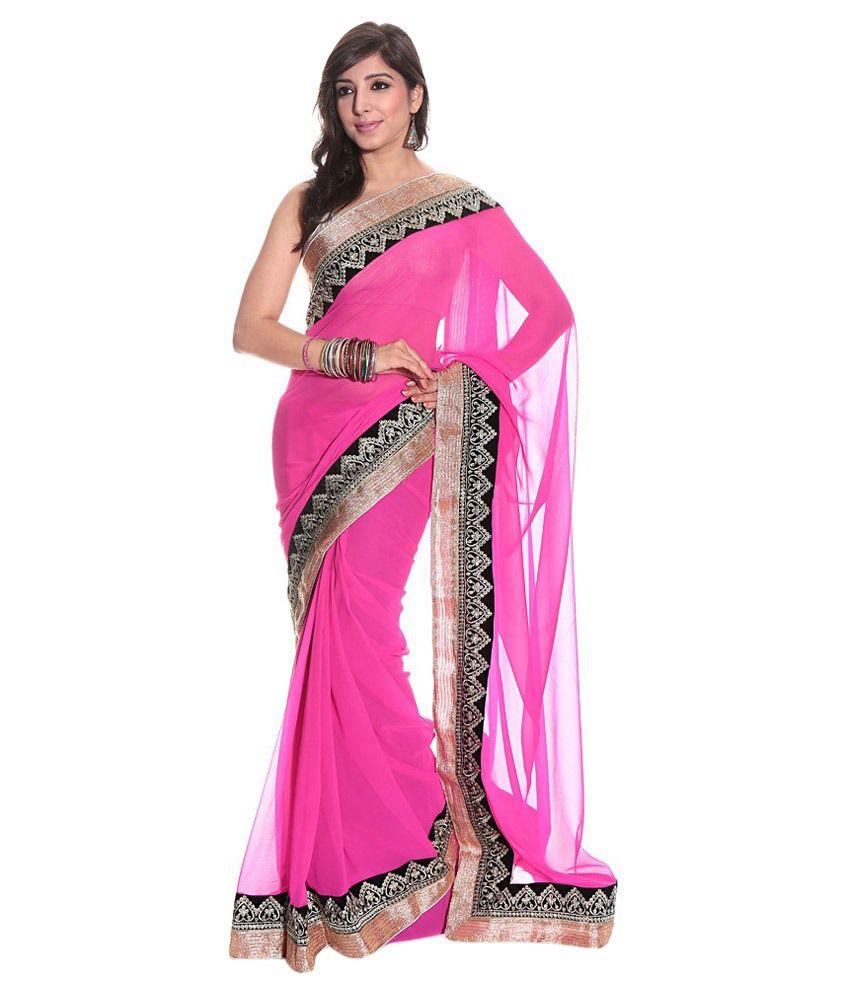 Ridhan Pink Faux Chiffon Saree