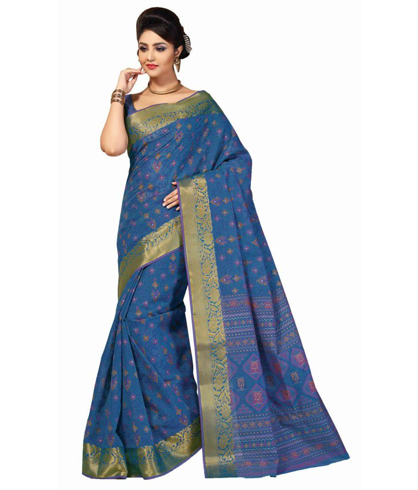 Sudarshan Silks Blue Cotton Saree