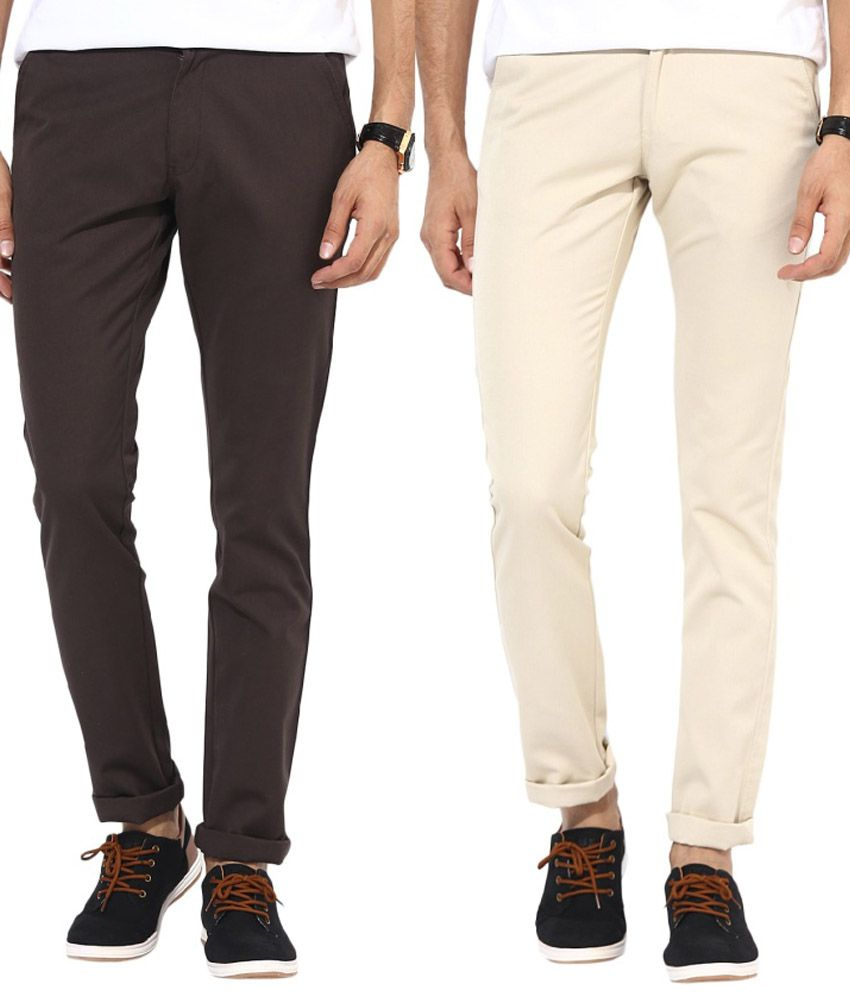 Bukkl Multicolor Slim Fit Casual Chinos - Pack of 2