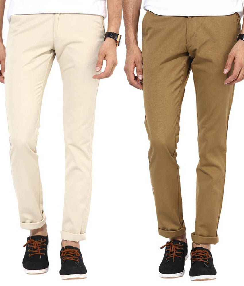 Bukkl Combo Of Cream And Khakhi Slim Fit Casual Chinos