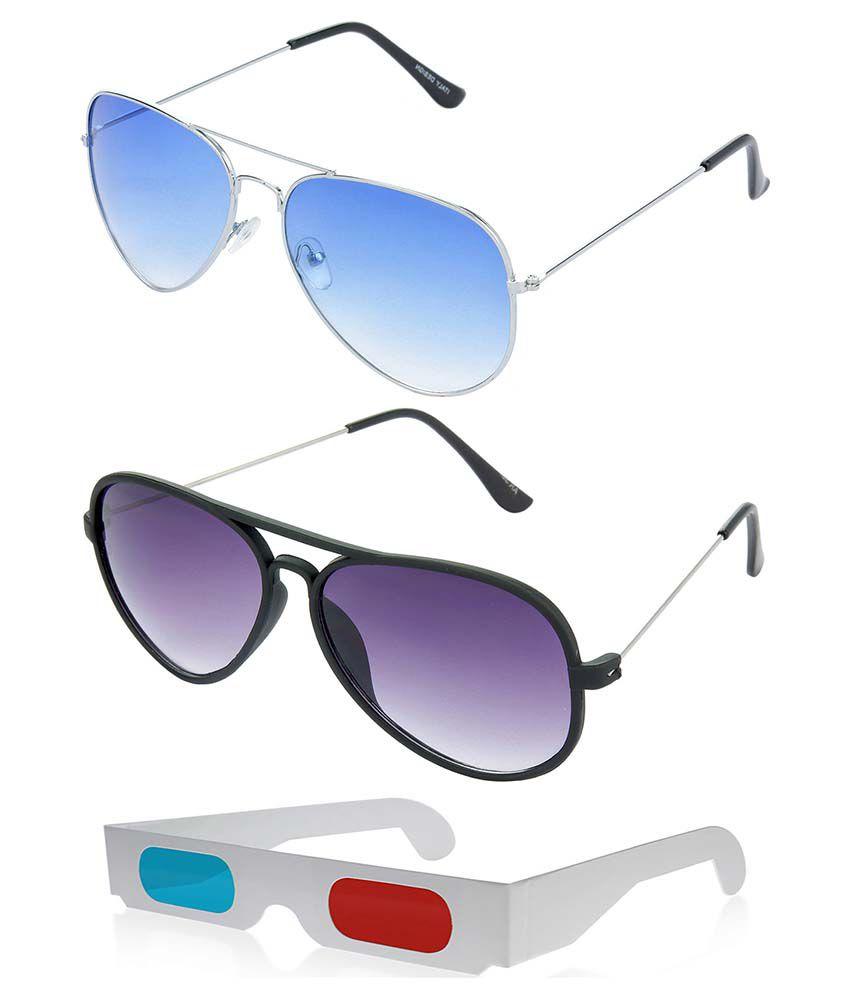 Hrinkar Hcmb043 Multicolor Aviator Sunglasses - Combo Of 3