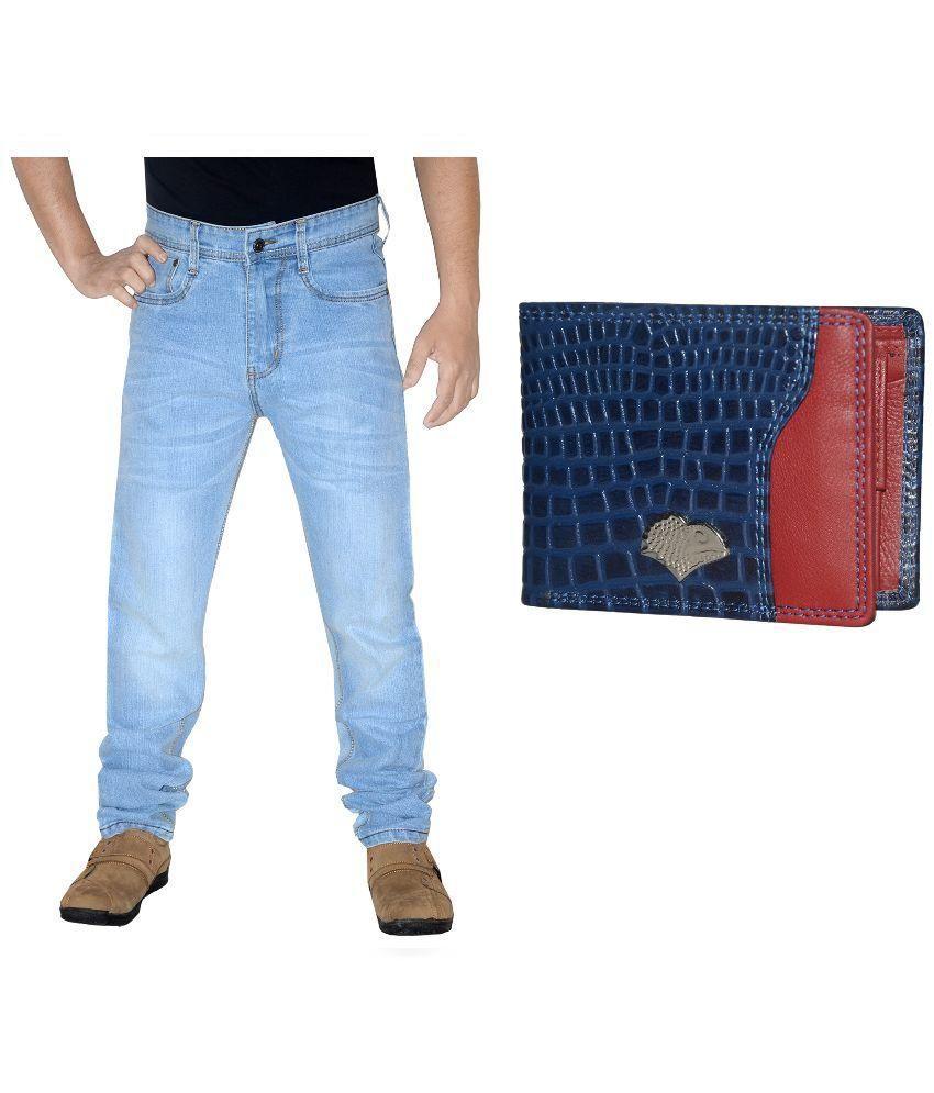 L,Zard Blue Regular Fit Jeans with Wallet