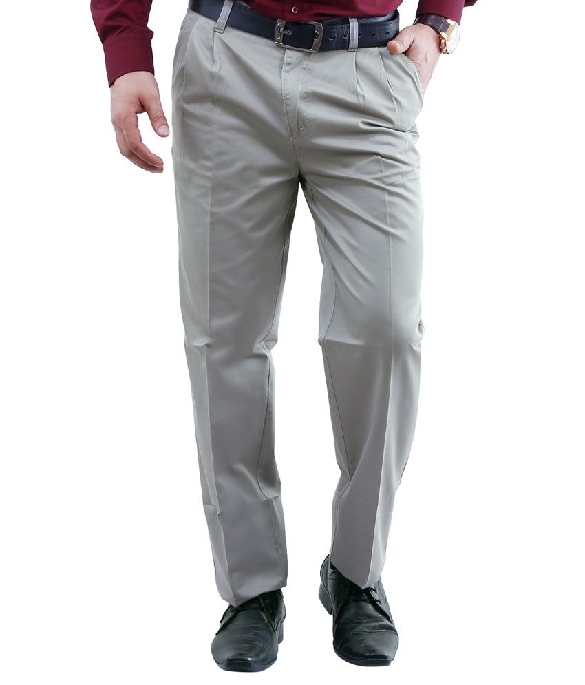 Lamode Grey Regular Fit Casual Chinos Trouser