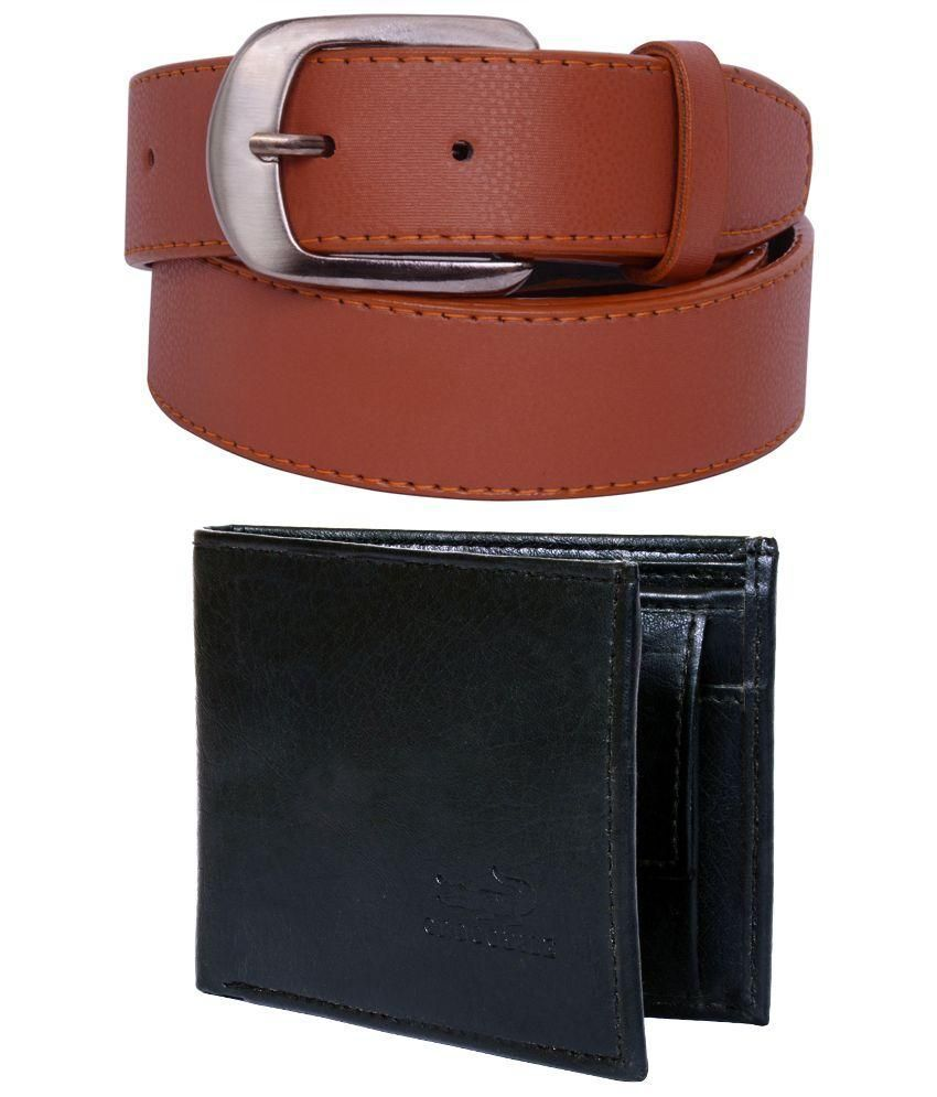 Visach Combo of Brown Belt with Black Wallet