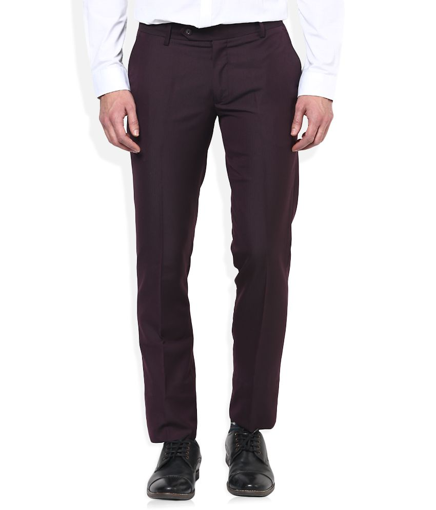 John Players Brown Solid Flat Front Trousers
