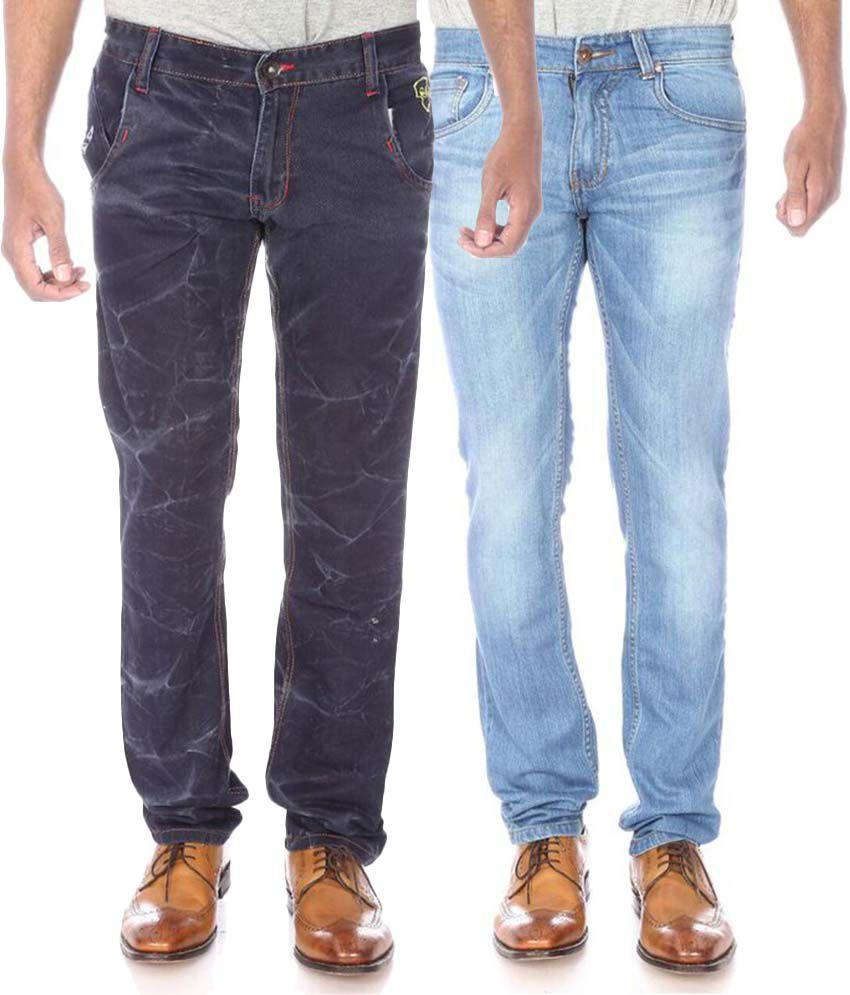 Official League Blue Slim Fit Jeans Combo Of 2