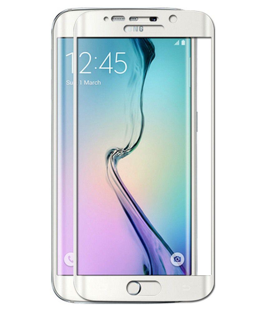 Samsung Galaxy S6 Edge - White Tempered Glass Screen Guard by PraIQ