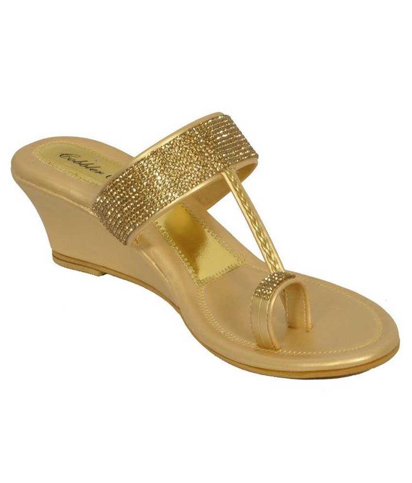 55ec4209bc Cobblerone Golden Wedge Heels Price in India- Buy Cobblerone Golden Wedge  Heels Online at Snapdeal