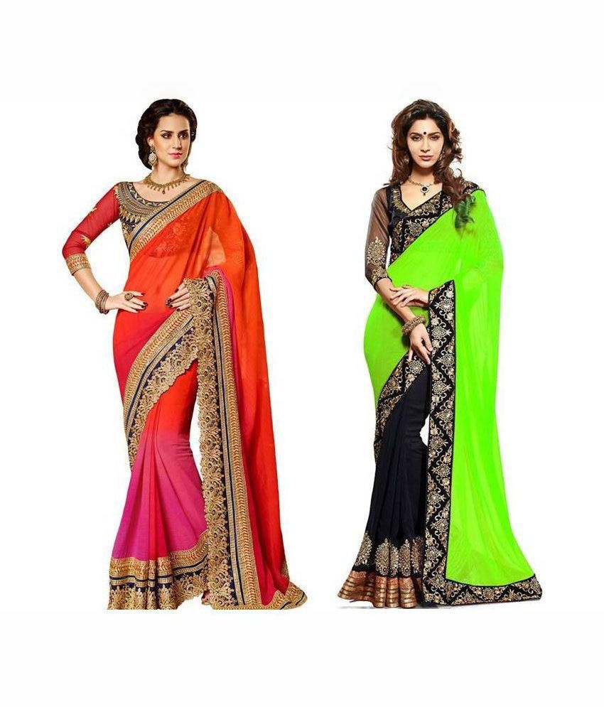 Jagdamba textiles Multicolour Faux Georgette Pack of 2