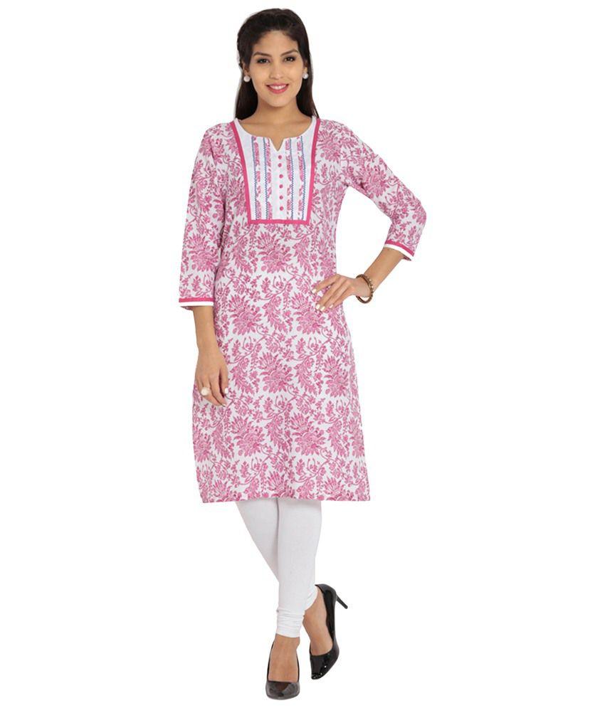 Soch Pink & White Printed Cotton Kurti