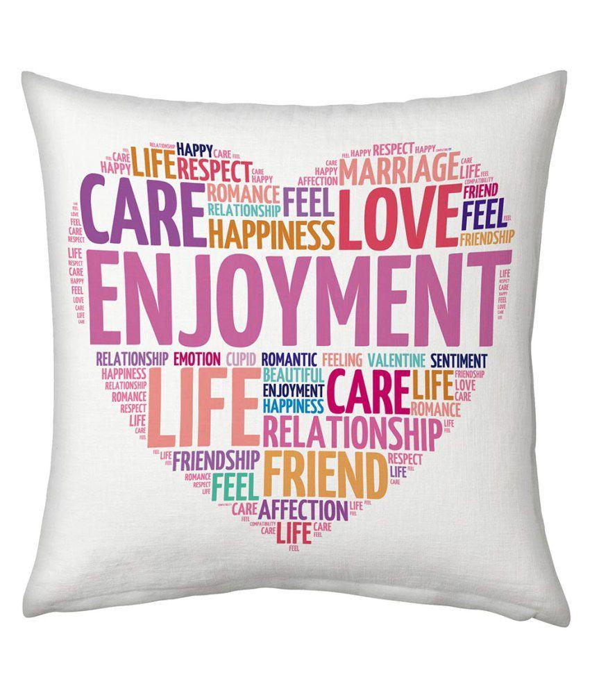 Ethnictreat White Designer Romantic Printed Cushion 137