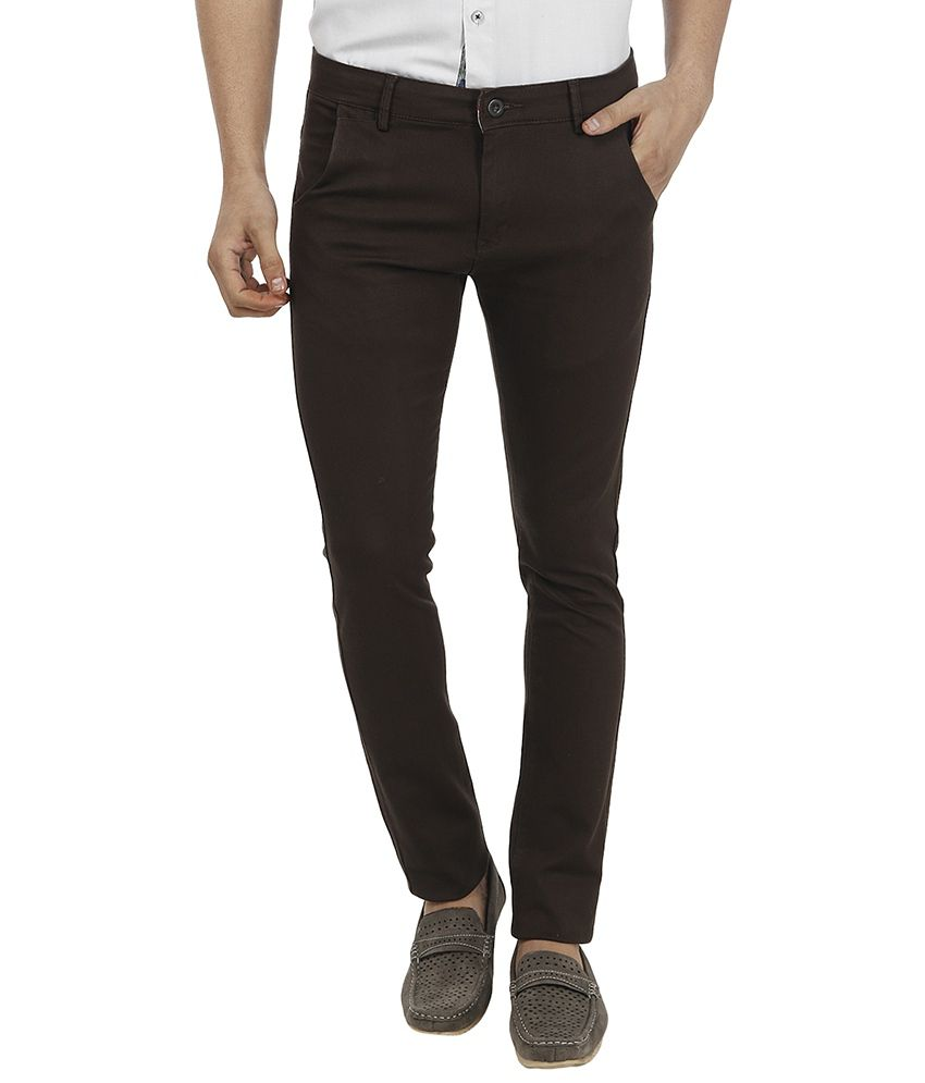 Fever Brown Slim Fit Casual Chinos