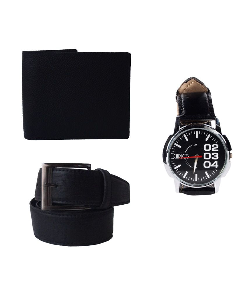 Klaska Combo of Genuine Leather Wallet, Belt & Wrist watch for Men