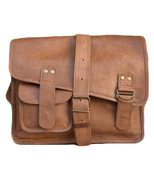 Nkvintage Leather Brown Office Bag
