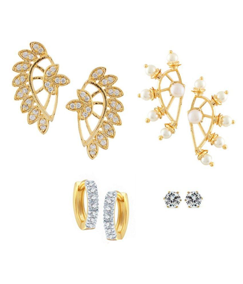 Parijaat Combo Of Designer Gold Plated 2 Cz Cuff Earrings, Huggie Earrings & Solitaire Earrings
