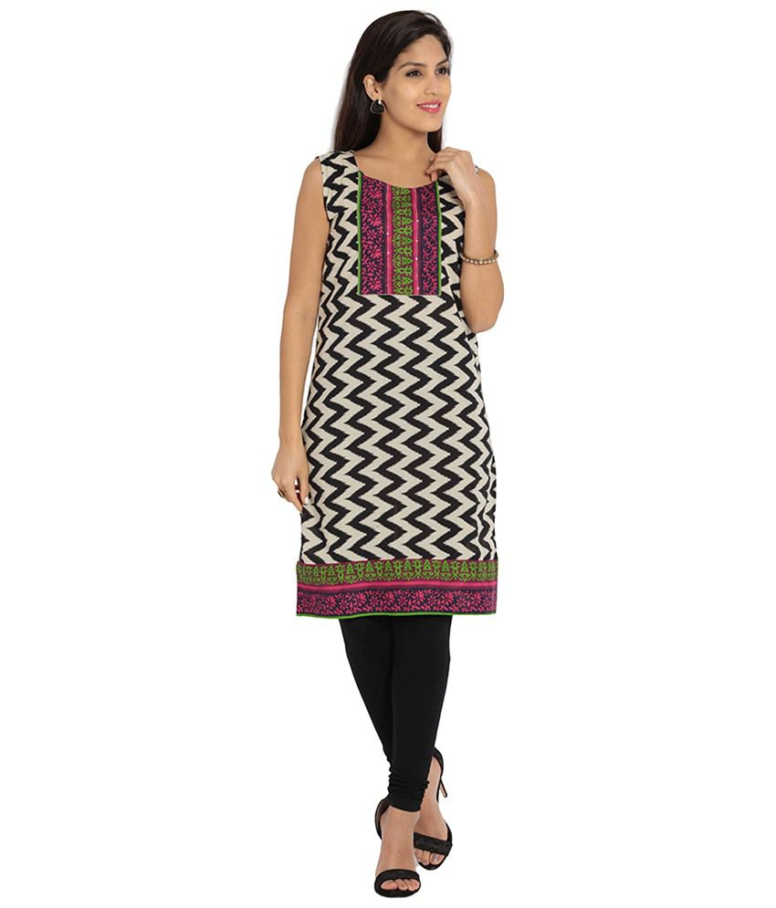 4ff0431935 Soch Beige & Black Printed Cotton Kurti - Buy Soch Beige & Black Printed  Cotton Kurti Online at Best Prices in India on Snapdeal